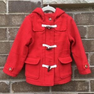 M&S Wool Blend Hooded Duffle Coat | Red | 2-3 YRS
